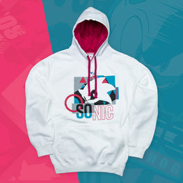 Official Modern Sonic the Hedgehog 'Remix' White and Pink Hoodie