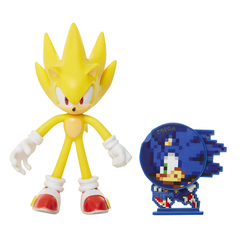 "Official Super Sonic 4"" Bendable Action Figure with Sonic"