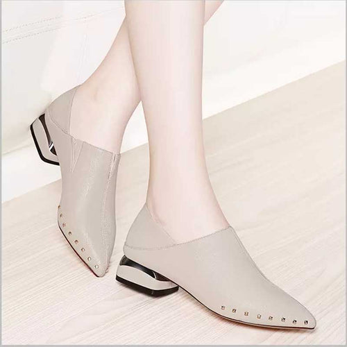 Rivet Slip On Shoes Low Heel Pointed Toe