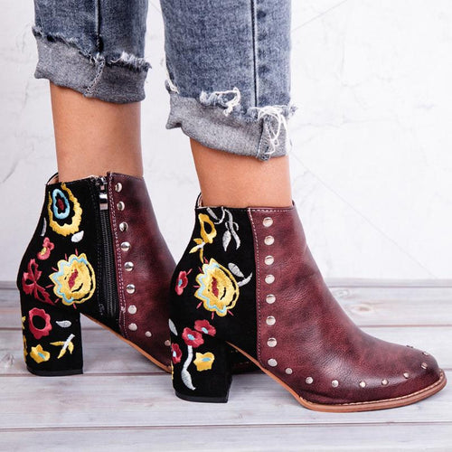 Women Embroider High Ankle Boots Flock PU Leather Rivet Flower