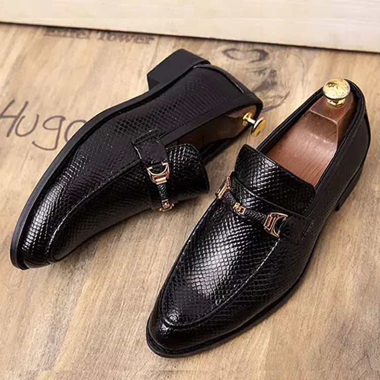 Casual Men Leather Shoes Round Toe Anti-Slip Snake Skin Print