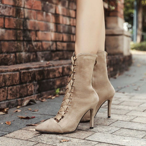 Gladiator Women Stiletto Boots Pointed Toe Strappy Lace Up