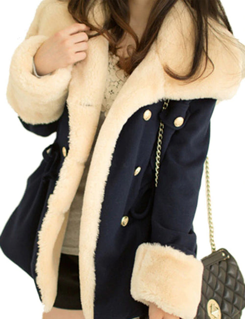Plus Size Women Cotton Coat Double Breasted Turn-Down Collar