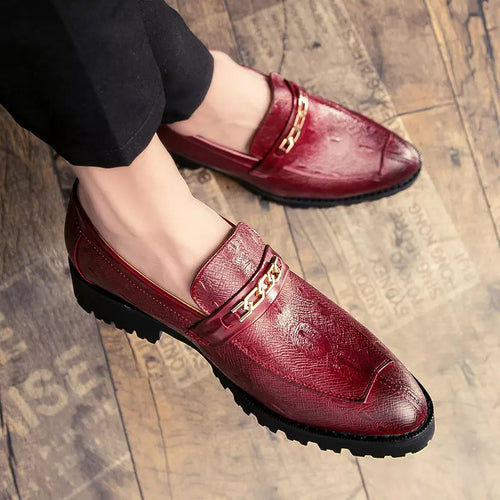 Fashion Leather Shoes Slip-On Solid Color Metal Decor
