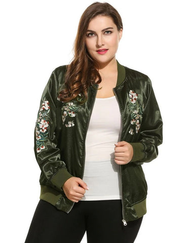 Plus Sizes Retro Embroidered Long Sleeve Oversize Bomber Jacket