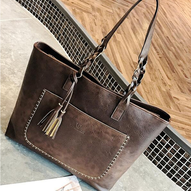 Luxury Women Shoulder Bag Tassel Solid Color