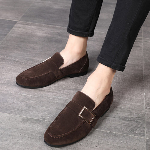 Fashion Men Shoes Round Toe Pure Color Slip-On