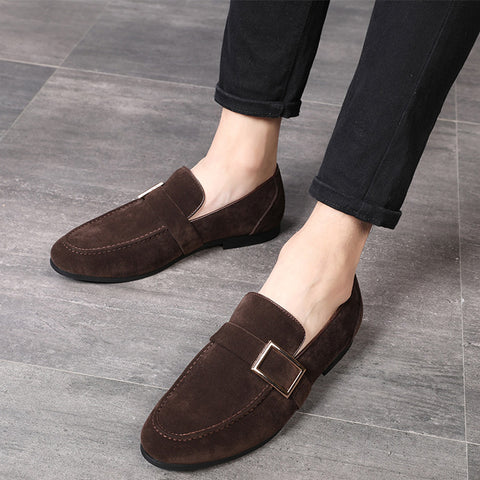 Casual Men Leather Shoes Round Toe Low Heel