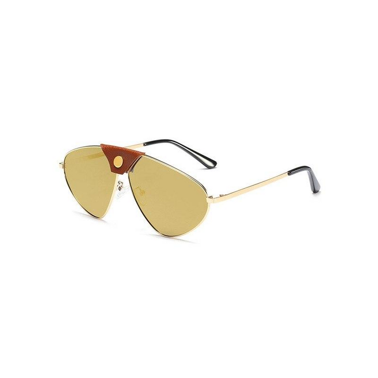 Fashion PU Leather Decoration Polarized Sunglasses