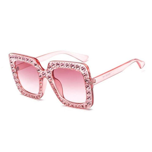 Crystal Decoration Oversize Frame Women Square Sunglasses