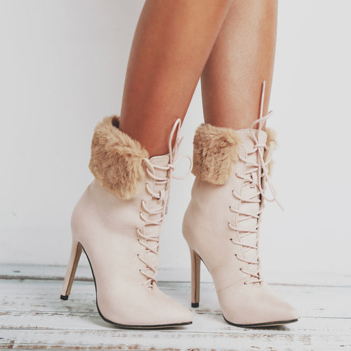 High Heel Ankle Boots Fur Women Lace-Up Suede Pointed Toe
