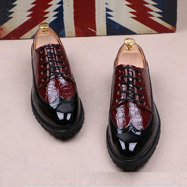 Fashion Leather Men Dress Shoes Pointed Toe Lace Up