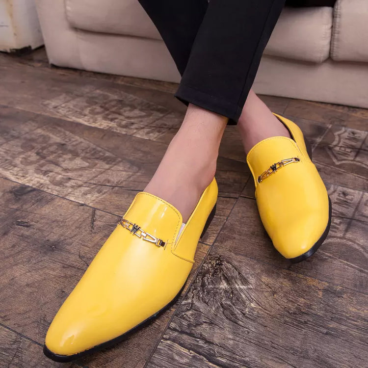 Classic Men Leather Shoes Pointed Toe Slip-On Metal Decor