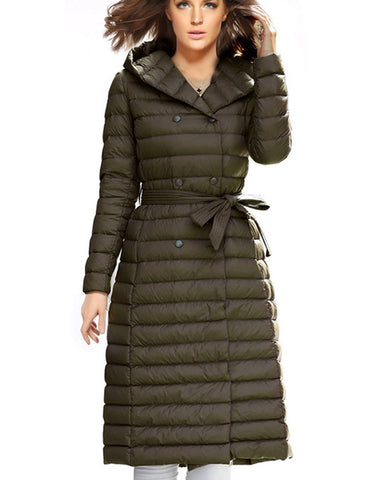 Fashion Winter Women Coat Knee Length With Hat Double Breasted