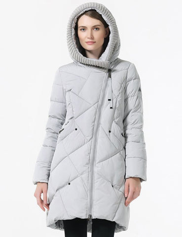 Plus Size Women Hooded Coat Pockets Zipper Plain