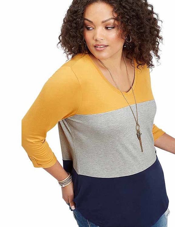 Plus Size Women T-Shirt Striped 3/4 Sleeves V-Neck