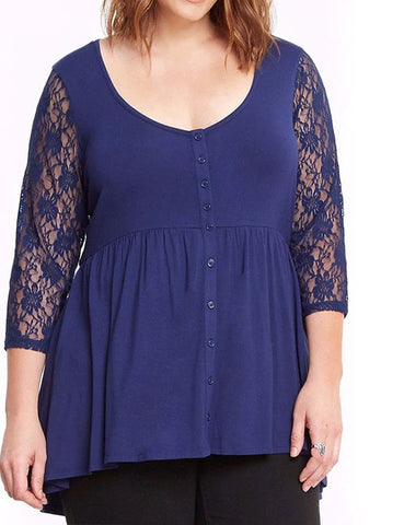 Plus Size Lace Tops Autumn Shirts Buttons Three Quarter Sleeves