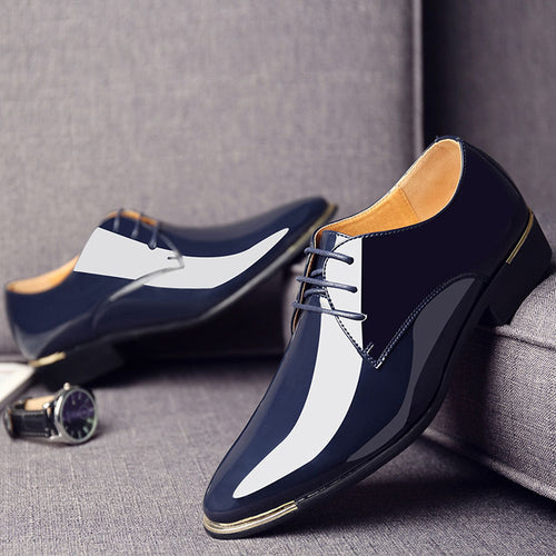 Men Classic Oxford Shoes Pointed Toe Patent Leather
