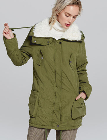Warm Women Cotton Coat Zipper Closure Solid Color