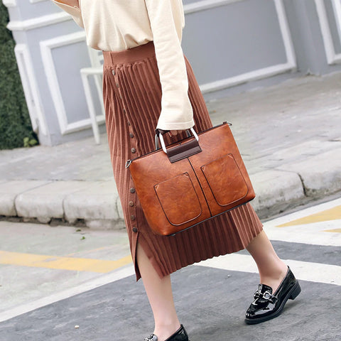 Retro Women Shoulder Bag 2pcs/set Handbag