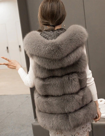 Vintage Women Vest Fur Coat With Hat Solid Color