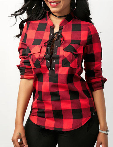 Fashion Women Shirts Long Sleeves Lace-Up Plaid Pockets