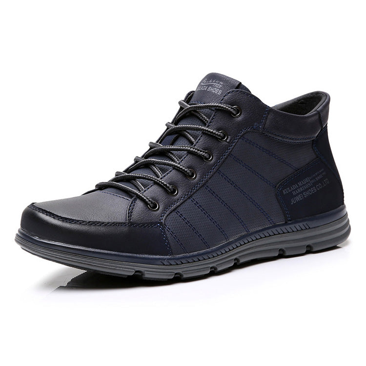 Comfortable Men Ankle Boots Lace Up Hand-Made