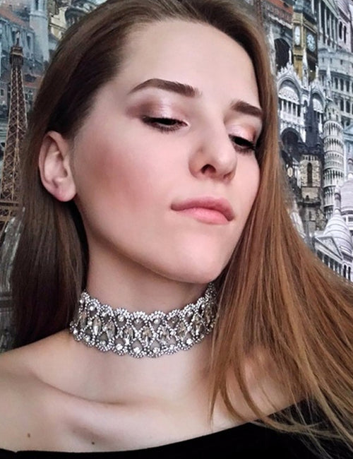 Luxury Hollow Flower Crystal Rhinestone Choker Collar Gold Silver Chain Necklace