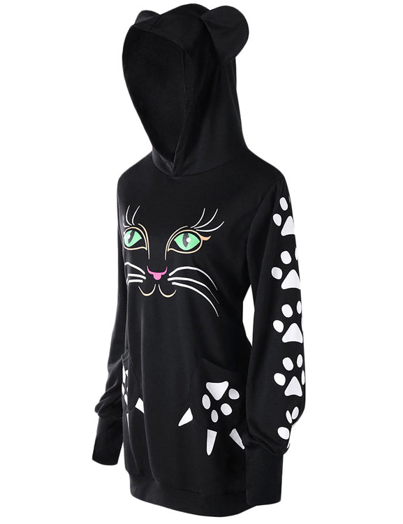 Cat Hoodie With Ears Women Sweatshirt Kawaii Hoodie Casual Black Cute Long Pullovers