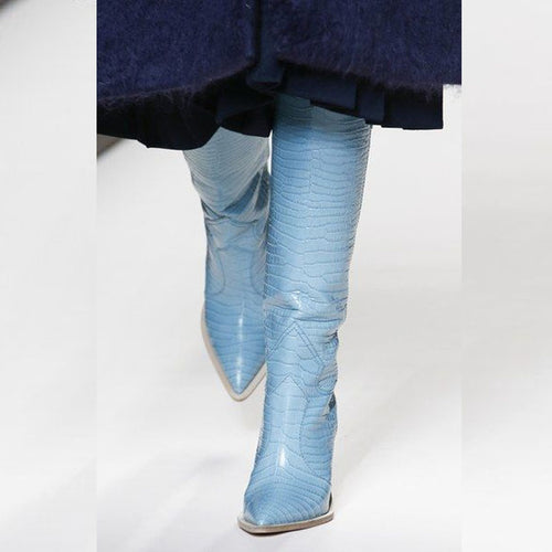 Embossing Plaid Runway Pointed Toe Knee High Boots
