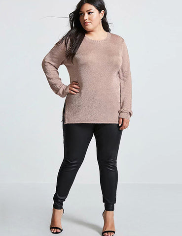 Plus Size Women Solid Sweaters O-Neck Long Sleeve Pullovers Casual Sweater