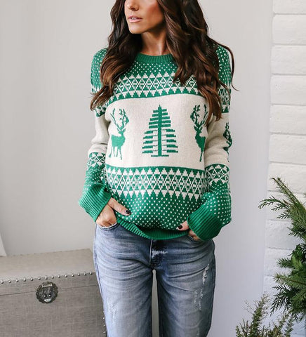 Christmas Moose Jacquard Sweater