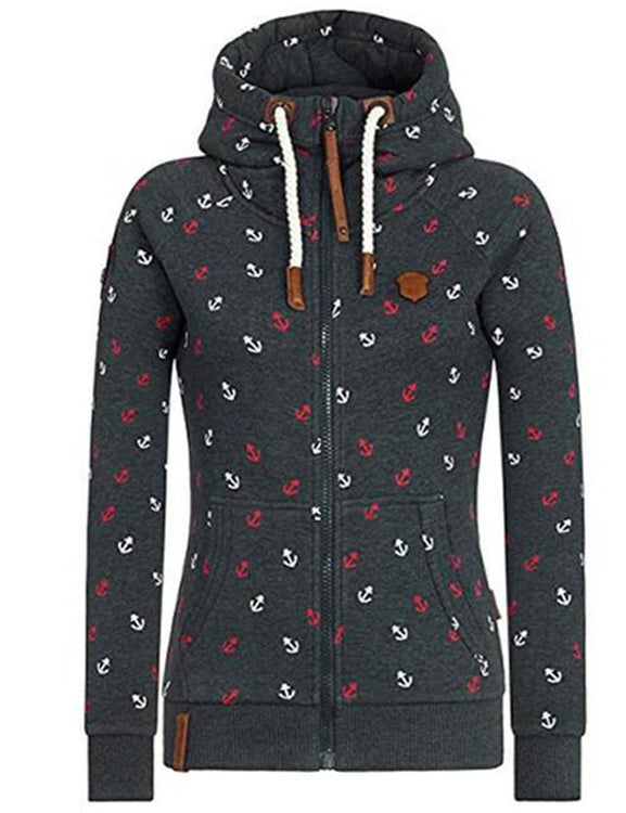 Casual Women Hoodie Jacket High Collar Zipper Print