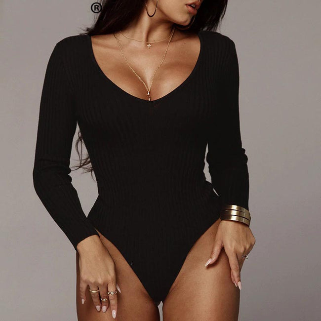 Off Shoulder Ribbed Knitted Sexy Women Bodysuit