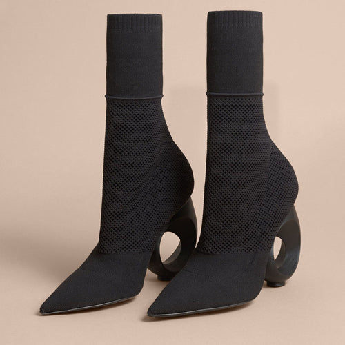 Elegant Women Knitted Sock Bootie Round Ring Heel Pointed Toe