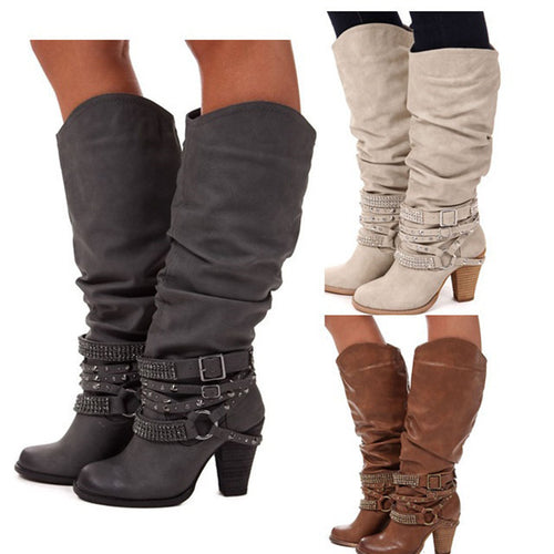 Knee High Boots High Heels Pleated boots