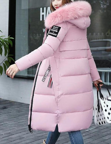 Warm Women Long Hoodie Coat Pockets Zipper Closure