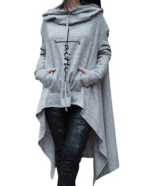 Women Long Hoodies Sweatshirts Full Sleeves Pockets