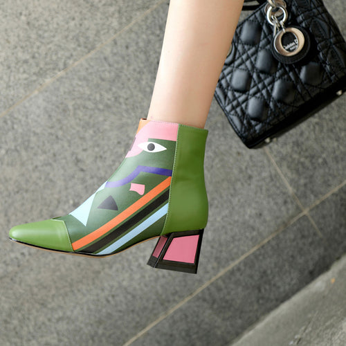 Women Ankle Boots High Heels Zipper Closure