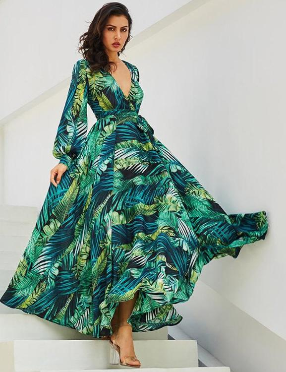 Green Tropical Beach Vintage Plus Size Dress