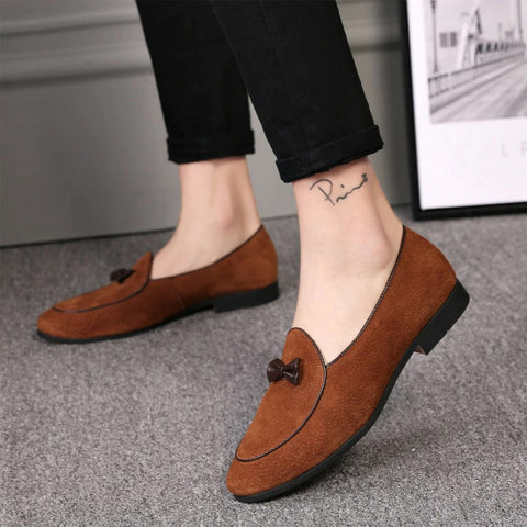 Casual Men Suede Leather Shoes Bowknot Slip-on