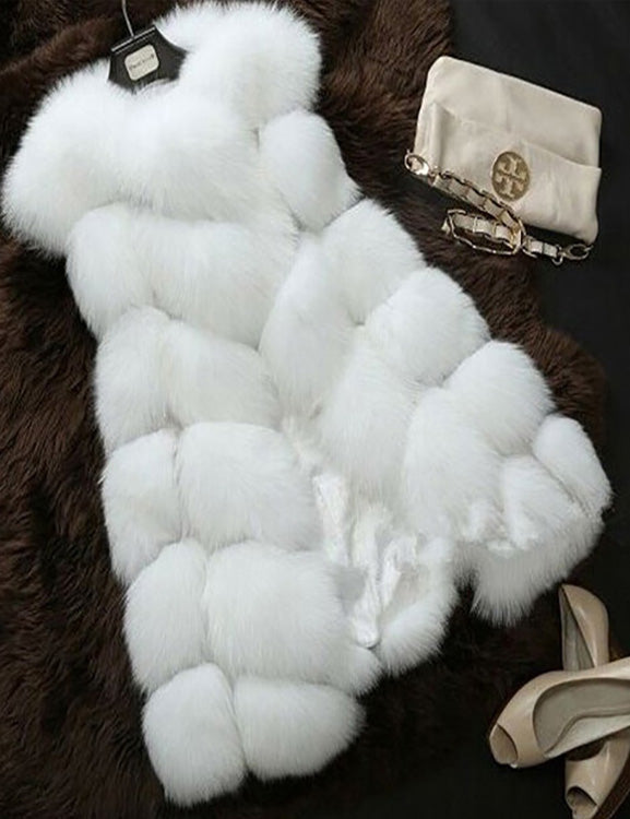 Casual Women Sleeveless Coat Faux Fur Solid Color