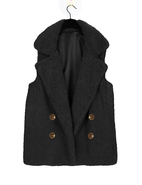 Casual Vest Waistcoat Women Long Suit Pockets Buttons