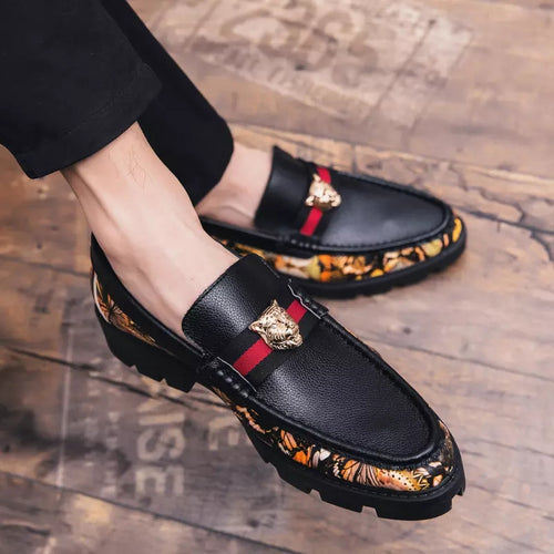 Splicing Metal Decor Casual Shoes Leather