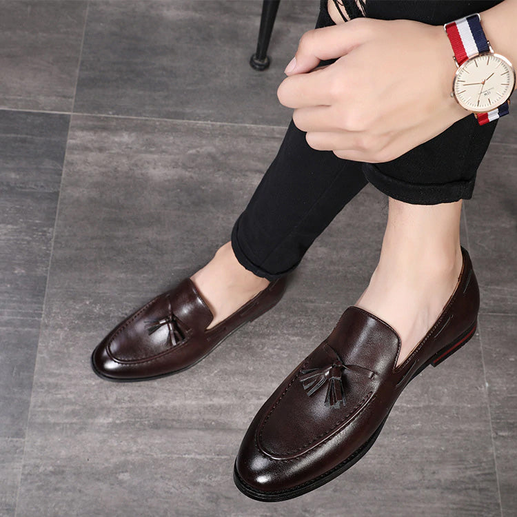 Fashion Handmade Men Leather Shoes Tassel Solid Color