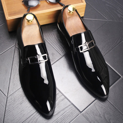 Formal Male Shoes Pointed Toe Buckle Solid Color