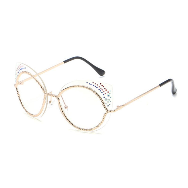 Crystal Decoration Women Rimless Sunglasses