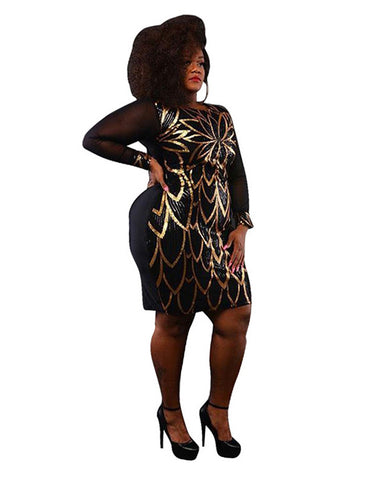 Sequins Sheer Mesh Bodycon Mini Dress O Neck Long Sleeve