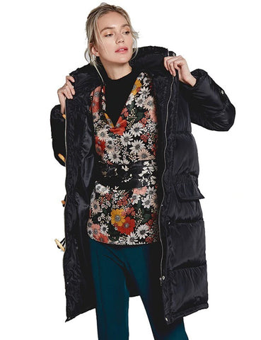 Plus Size Women Hooded Coat Pockets Zipper Wide-Waisted