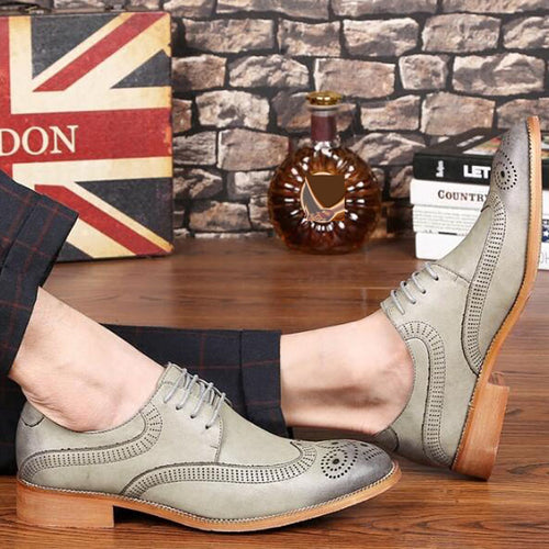 Luxury Brogue Shoes Genuine Leather Party Business Pointed Toe